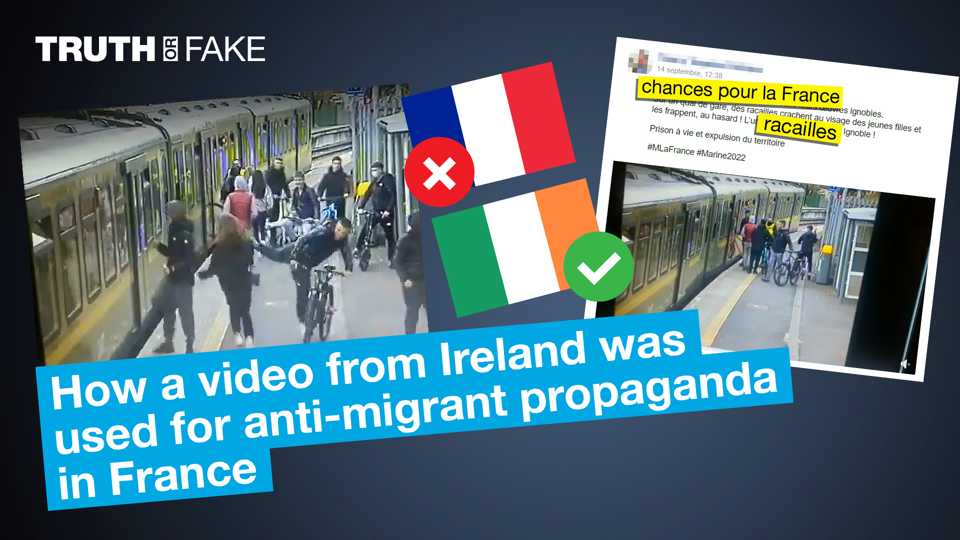 The French far-right politician Thierry Tsagalos shared a video of what he implied was migrants attacking women in France. But the video actually comes from Ireland and shows an assault by Irish people.
