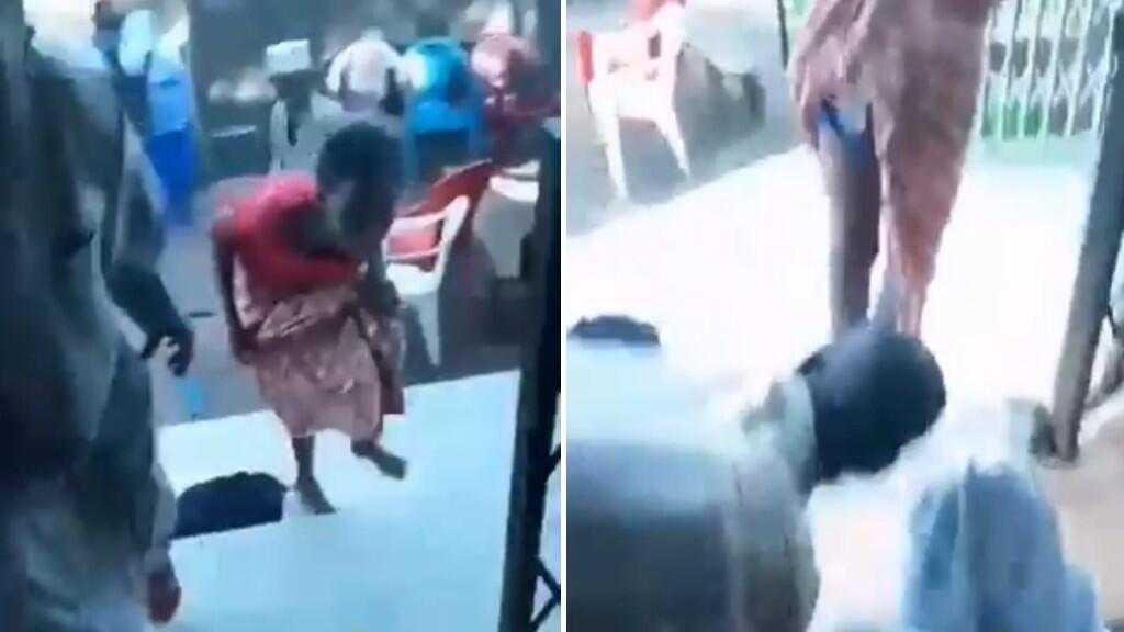 Des gendarmes guinéens violentent une famille endeuillée dans la commune de Ratoma à Conakry, en marge des manifestations, mardi 15 octobre. Captures d'écran d'une vidéo publiée sur les réseaux sociaux.