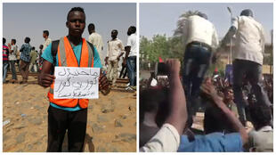 """A gauche : un manifestant arbore une pancarte disant : """"Nous ne remplacerons pas un """"kouz"""" par un autre"""" [référence aux Frères musulmans, organisation à laquelle le parti d'Omar el-Béchir est historiquement associé]. A droite : manifestants à Khartoum."""