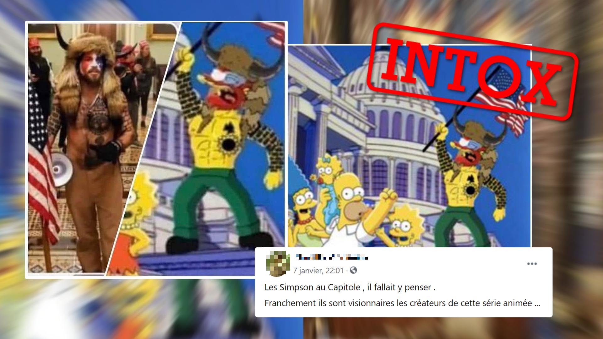 Des internautes ont partagé ces images affirmant que les Simpson avaient prédit les émeutes du Capitole du 6 janvier 2021.
