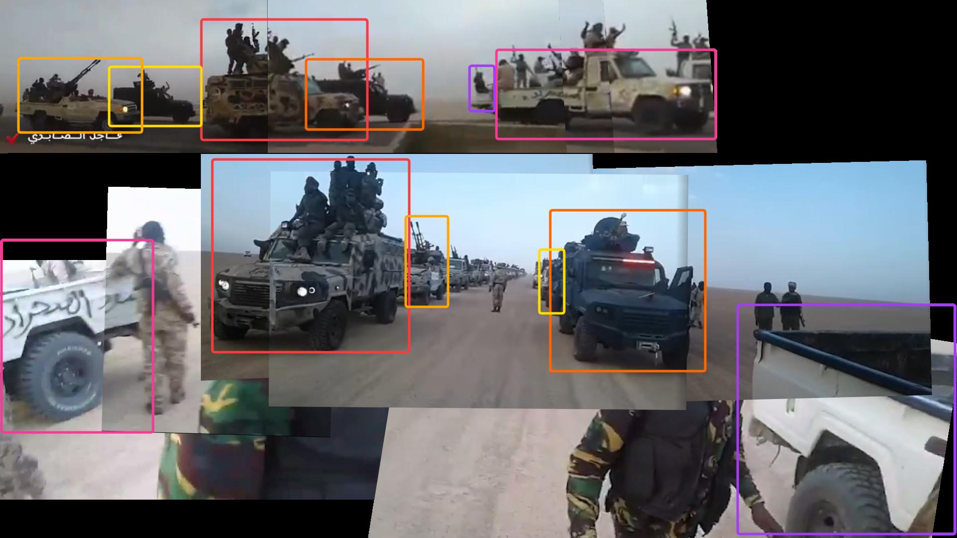 Montages de captures d'écran de la vidéo de 2017 en haut et, en bas, de celle ayant circulé à la mi avril 2021. Chaque couleur correspond au même véhicule placé au même endroit dans les deux vidéos.