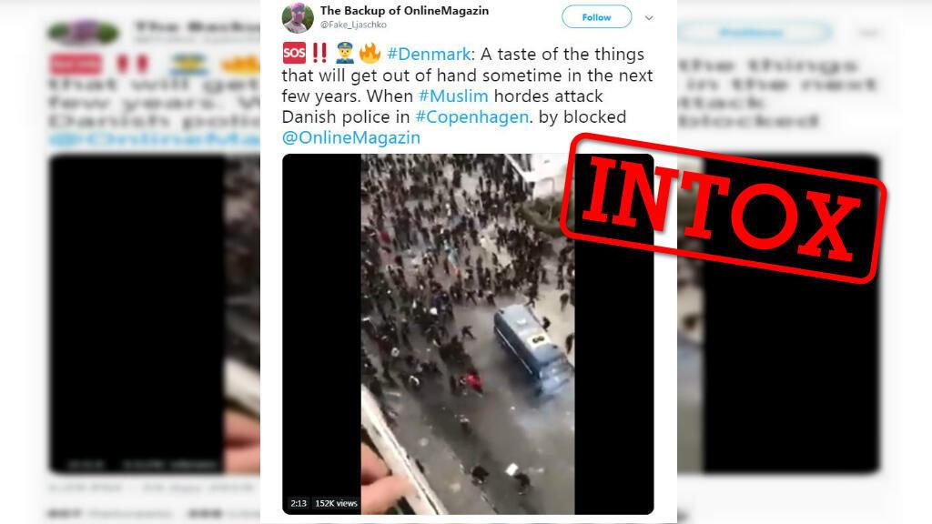 """Un des nombreux tweets prétendant que cette vidéo montre des """"musulmans"""" attaquant des policiers danois."""
