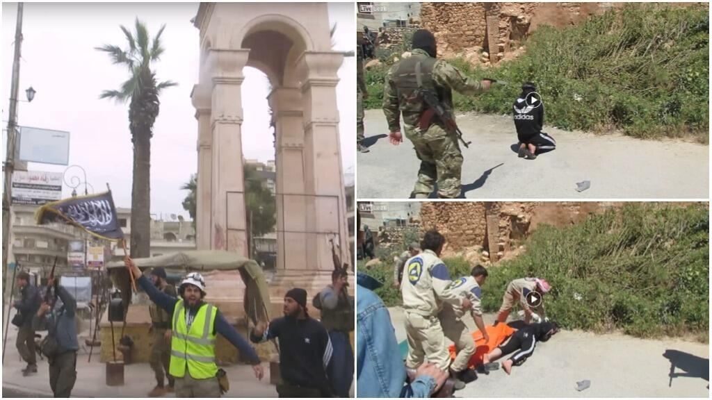 """Screengrabs from videos that claim the White Helmets """"work with terrorist groups""""."""