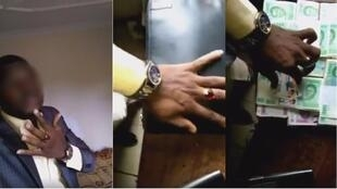 Screengrabs of the son of the Cameroonian senator Baba Hamadou flashing his cash. Image on the left blurred by FRANCE 24.