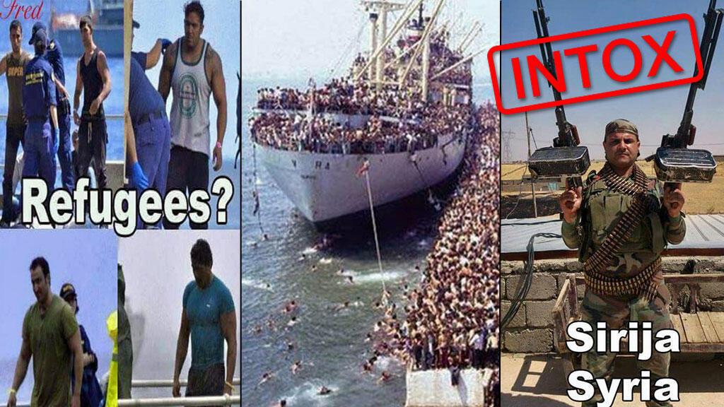 Trois exemples d'intox par l'image circulant sur les réseaux sociaux autour des migrants, détaillés dans cet article.