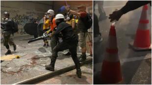 Des manifestants utilisant des parapluies, des souffleurs de feuilles et des cônes de chantier contre les gaz lacrymogènes à Portland, imitant des techniques popularisées à Hong Kong. Images prises les 21 et 24 juillet 2020. Twitter - @45thabsurdist