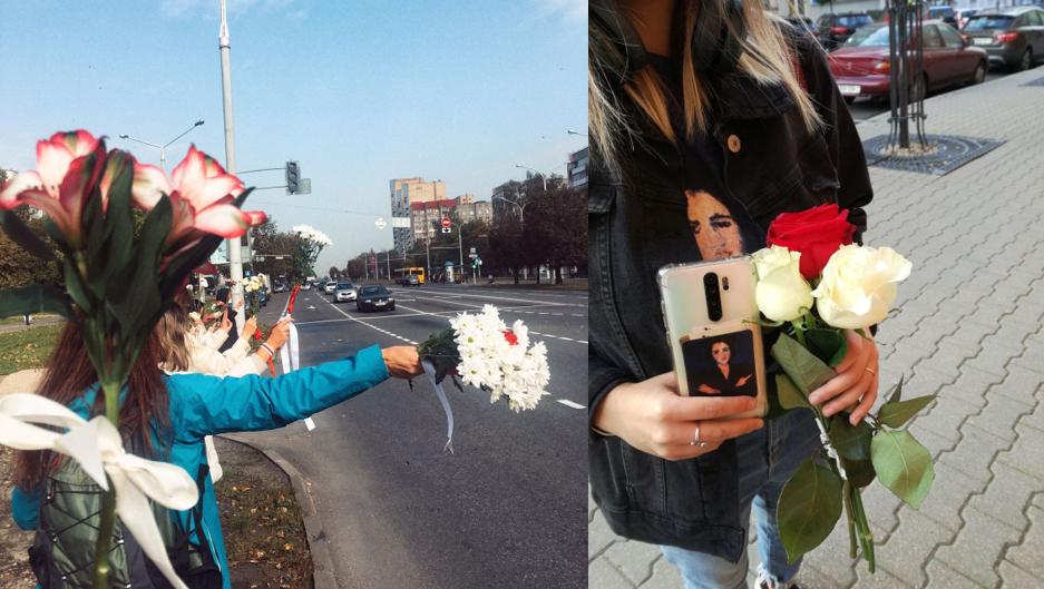 À gauche : photo issue des réseaux sociaux prise lors d'une manifestation de femmes portant des bouquets de fleurs pour protester contre la réélection du président biélorusse Alexandre Loukachenko. À droite : photo prise par notre Observatrice Basia.