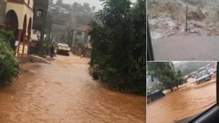 Photos des inondations dans le quartier de Regent, prises par Latoya Gerber et publiées sur son compte Twitter.
