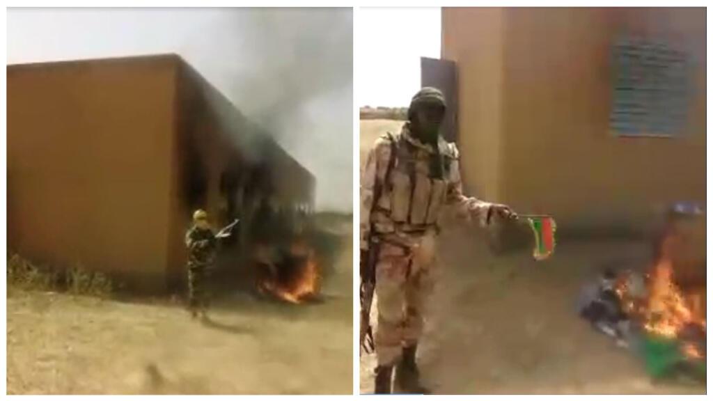 Captures d'écran de la vidéo de l'incendie d'une école au Burkina Faso ; à droite l'homme s'apprête jeter le drapeau burkinabé au feu