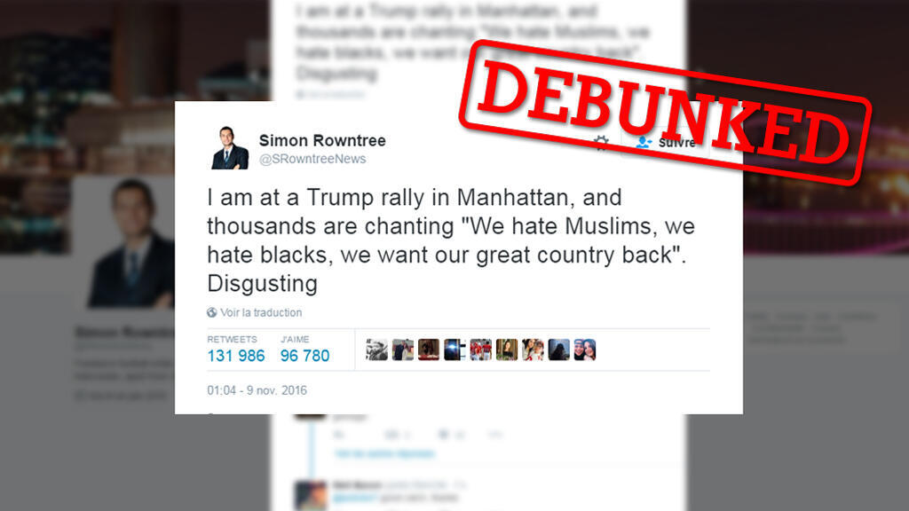 This tweet states that Trump supporters chanted racist slogans at a rally in Manhattan is false. Here's why.