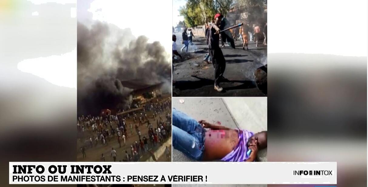 Ces trois images présentées comme ayant été prises en Guinée n'ont rien à voir avec les récentes manifestations. Et l'une d'entre elles est bien connue des Observateurs de France24...