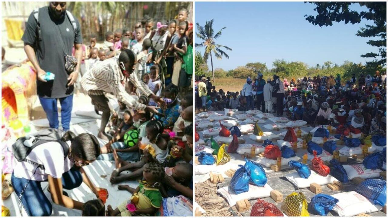 À gauche, une distribution alimentaire à Pemba par le collectif Ukhavihera. À droite, la Communauté islamique du Mozambique (CIMO) lors d'une opération dans le district de Quissanga. Photos : Georginelta Eurosia Eduardo (Instagram) et CIMO (Facebook).