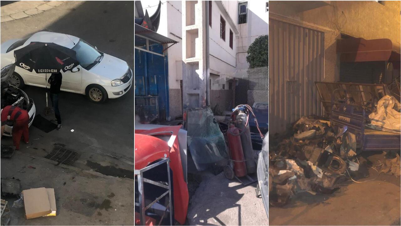 محلات إصلاح سيارات عشوائية تحتل الأزقة والأرصفة وجنبات الطريق في حي الخيام، أكبر الأحياء السكنية في مدينة أكادير. صور أرسلها لنا مراقبنا.