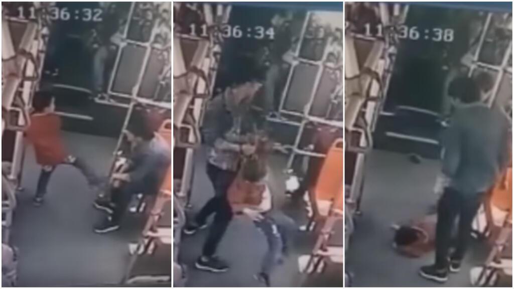 Captures d'écrans : en Chine, une vidéo virale montre un homme en train de frapper violemment un enfant.