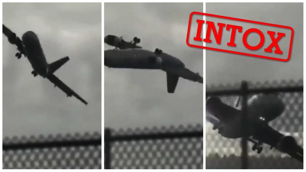 """Ces images ont été présentées comme l'atterrissage d'urgence d'un avion lors du passage d'un typhon en Chine. C'est faux ! Captures d'écran """"Time News International"""" / Facebook"""