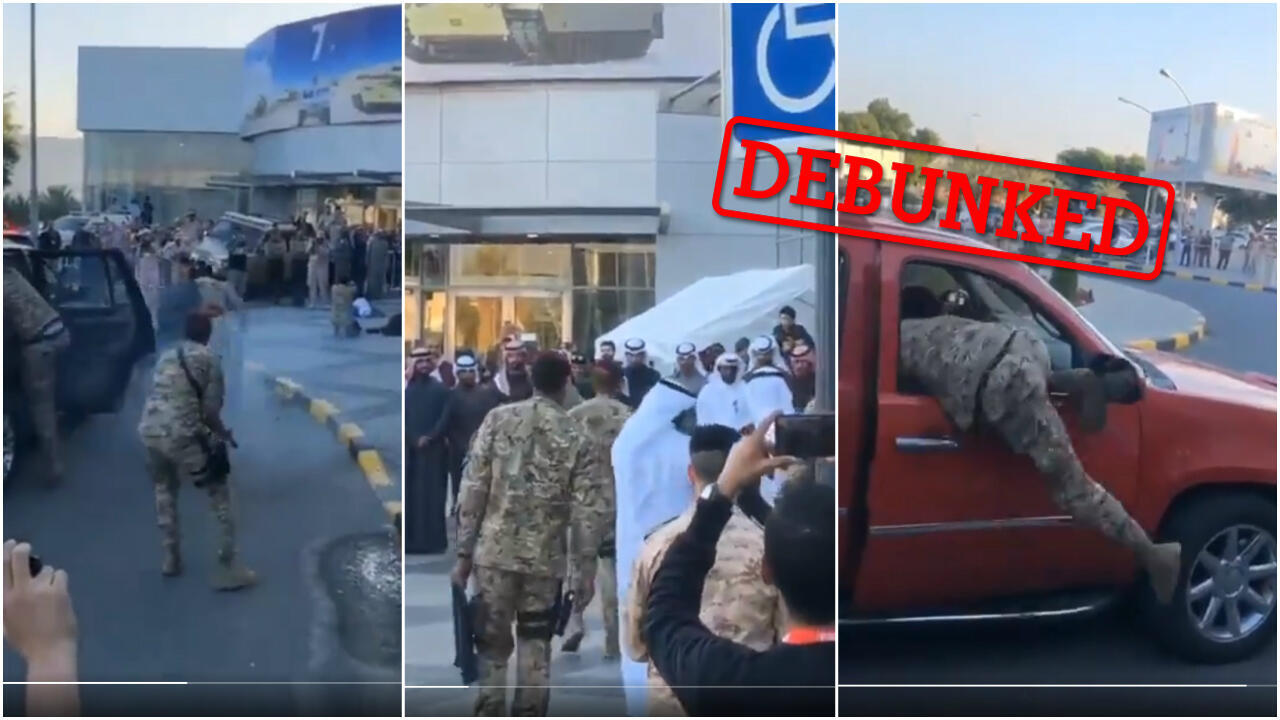 The video that has been circulating online doesn't show an assassination attempt – it's actually a demonstration staged by soldiers.