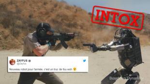 مردی در یک تمرین نظامی با یک رُبات روبرو میشود. این ویدئویی تاثیرگذار است اما واقعی نیست.