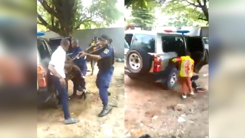 Deux vidéos amateur montrent un policier en train de tirer sur un membre du personnel du centre de santé de Vijana à Kinshasa, puis l'homme inerte au sol.