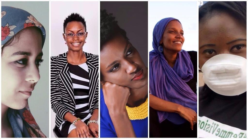 De gauche à droite : la slameuse algérienne Toute Fine, Monique Ntumngia, Ketty Nivyabandi, Umra Omar, Fatoumata Chérif.
