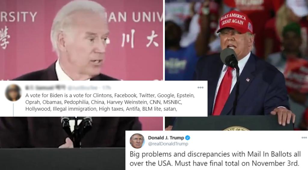 Les deux candidats à l'élection présidentielle américaine ont été à la fois victimes et diffuseurs de fausses informations de cette saison électorale. Captures d'écran Twitter.