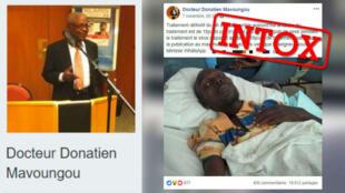 Captures d'écran de la page Facebook qui usurpe l'identité du Professeur Donatien Mavoungou.