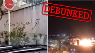 On the left, a photo of Iranian graffiti praising Trump; on the right, a rocket blast in Israel.