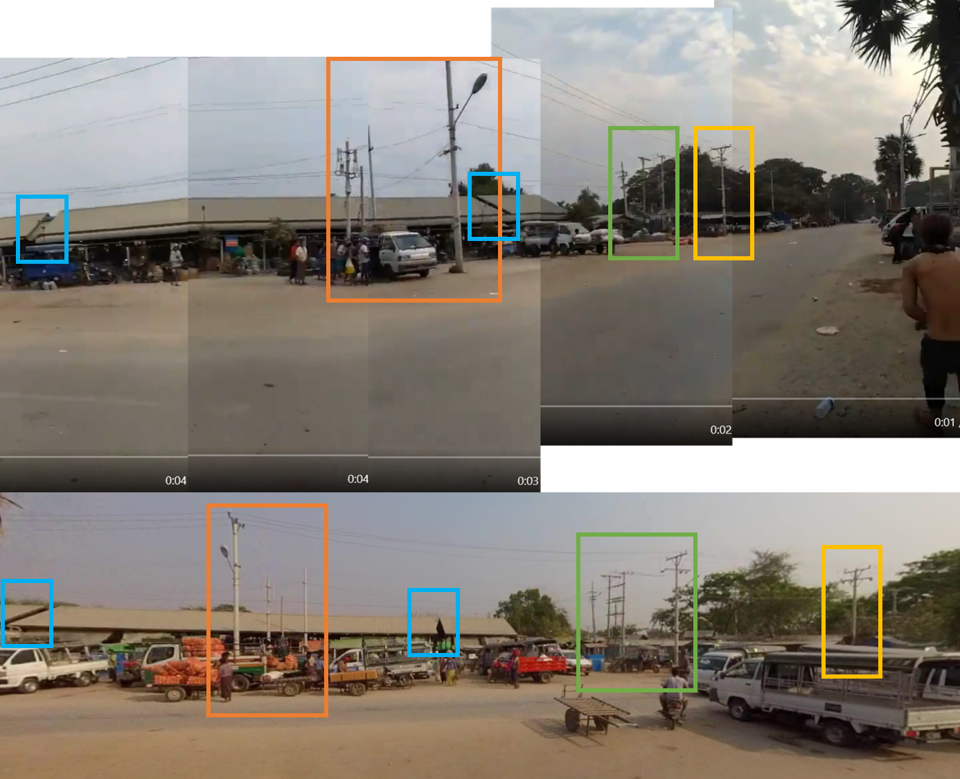 Above: This panorama image was constructed by placing multiple screengrabs from the video side by side. Below: Screengrab of Google Street View.
