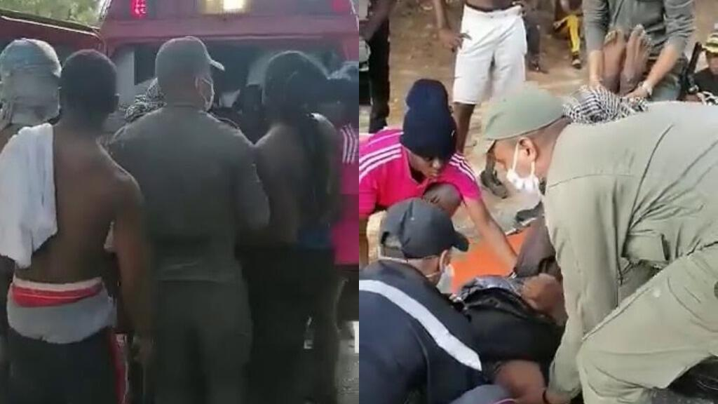 Videos posted on Facebook on August 1 showed a group of migrants carrying a body on a makeshift stretcher until an ambulance arrived.