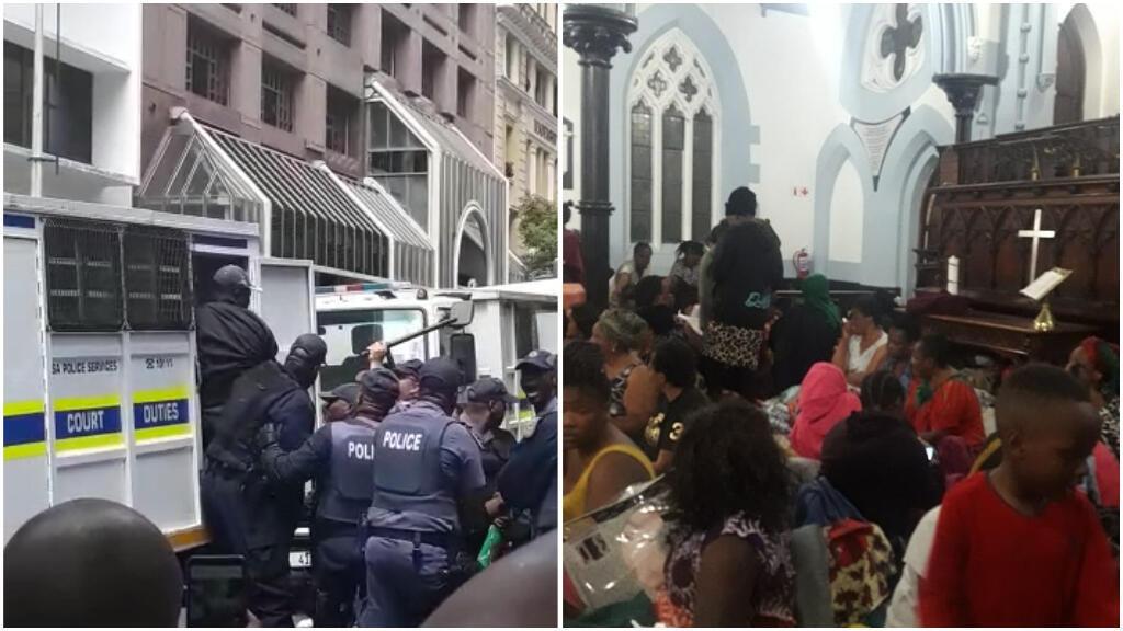 Opération d'évacuation devant le HCR mercredi 30 octobre; un groupe abrité dans une église jeudi 31 octobre. Photos envoyées par nos Observateurs.
