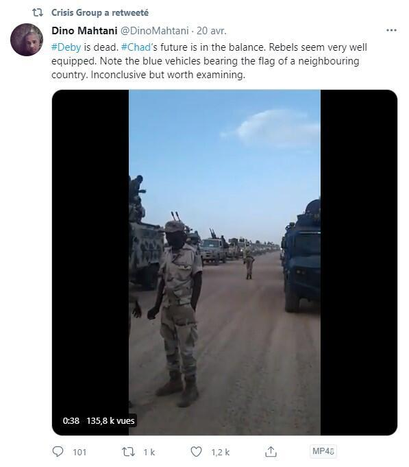 """""""Déby est mort. L'avenir du Tchad est en suspens. Les rebelles semblent très bien équipés [...]"""", s'interrogeait dans un tweet depuis supprimé cet expert du Crisis Group, un think thank spécialiste des conflits internationaux."""