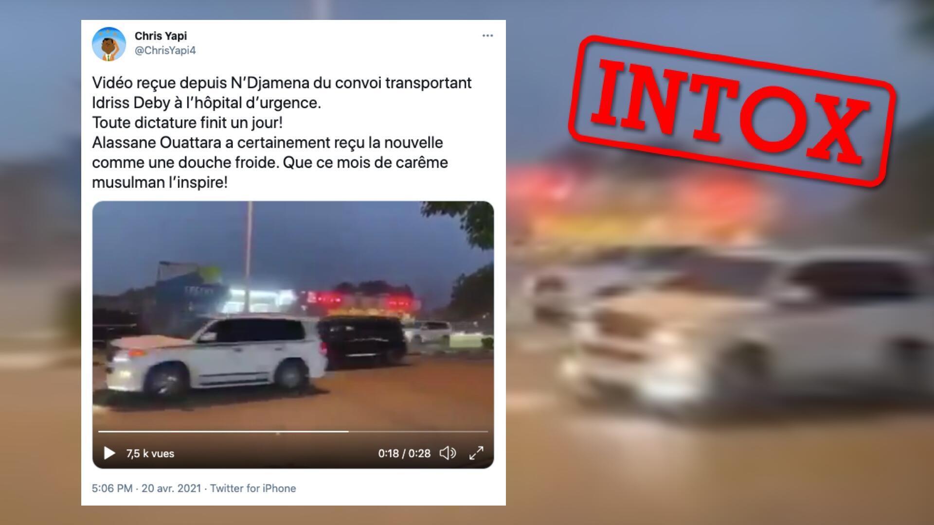 Cette vidéo ne peut pas montrer le convoi ayant transporté le président tchadien à l'hôpital, car elle date d'au moins plusieurs semaines.
