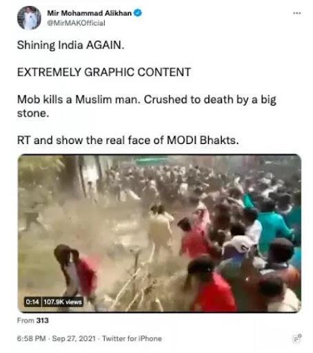 Capture d'écran du tweet du 27 septembre 2021 affirmant que des hindous tuent un musulman, prise par l'organisation de fact-checking indienne Boom Live.