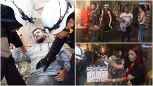 Videos circulating online allege that the white helmets stage fake rescues.
