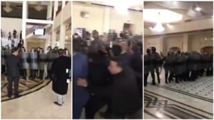 Des gendarmes anti-émeutes sont intervenus de façon musclée à la Cour d'Oran pour déloger les juges dimanche 3 novembre. Captures d'écran / réseaux sociaux.