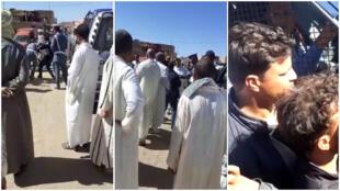 Captures d'écran des vidéos où l'on voit le gendarme frapper le professeur, puis le gendarme séquestré dans sa voiture