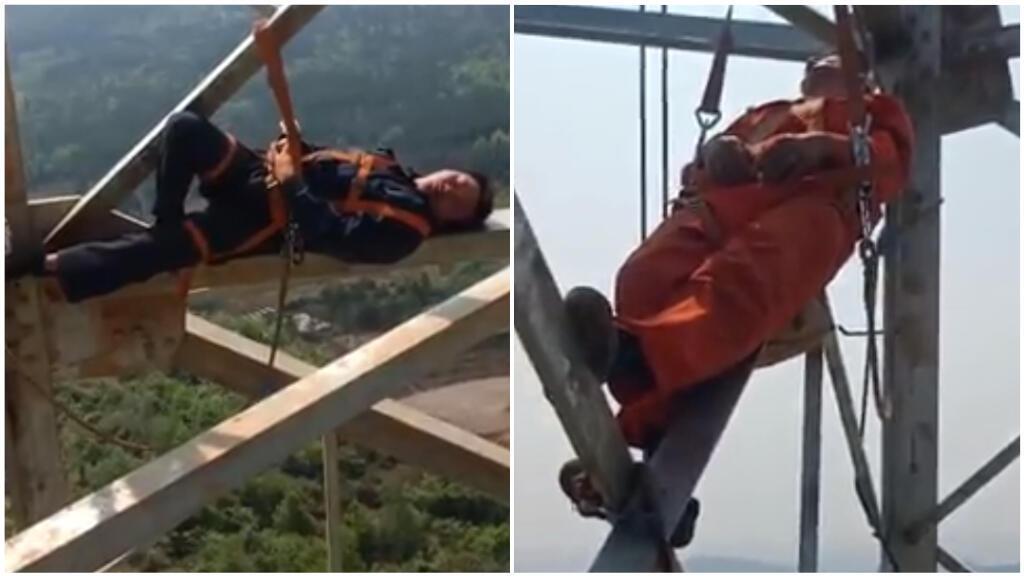 Ces images, apparues sur les réseaux sociaux au début du mois, montrent des ouvriers s'accordant une pause à plusieurs dizaines de mètres de hauteur. Captures d'écran / China Daily.