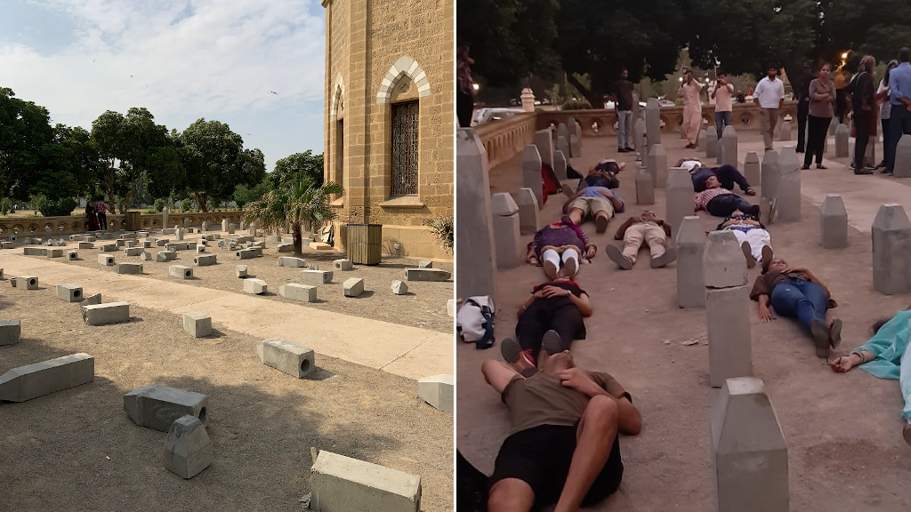 Left: Artwork by Adeela Suleman on October 28 after being vandalised. Right: A protest later the same day. Photos courtesy of our Observers.
