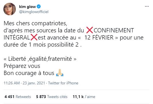 Capture d'écran d'un tweet de Kim Glow le 23 janvier 2021.