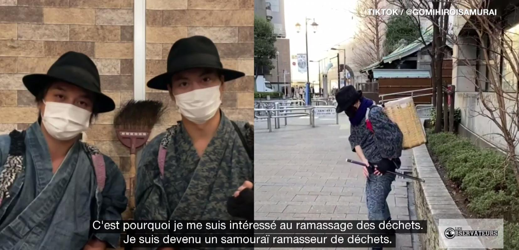 """Les """"Samouraïs ramasseurs d'ordure"""" collectent les déchets dans les rues de Tokyo en faisant des performances de Samouraïs. © Instagram / isseichidai_jidaigumi"""