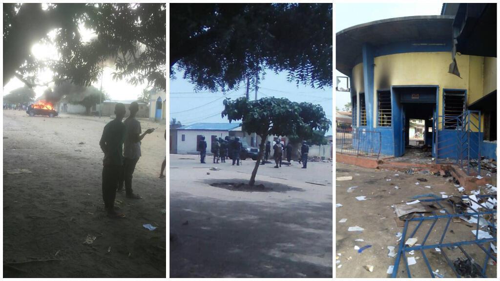 Photos prises à Sokodé, au Togo, mardi 17 et mercredi 18 octobre, par des habitants de la ville.