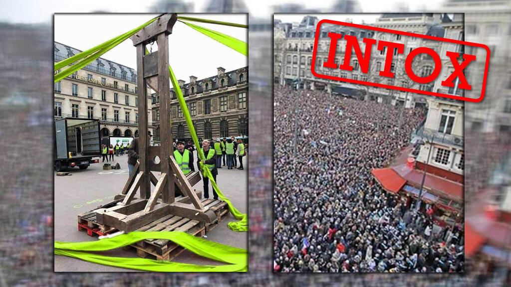 """Deux photos partagées, l'une en Europe, l'autre en Colombie, prétendant illustrer le mouvement des """"Gilets jaunes""""."""