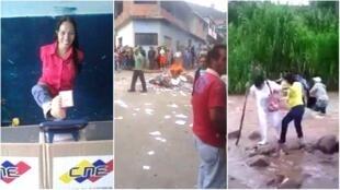 Captures d'écran de vidéos diffusées sur les réseaux sociaux au Venezuela dimanche 30 juillet.