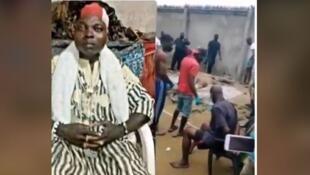 Capture d'écran d'un montage d'images prétendant relater l'arrestation d'un féticheur au Togo début juillet, et qui a circulé sur Facebook.