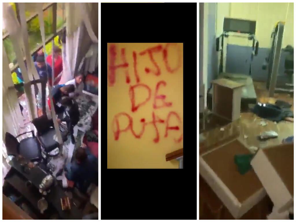 Captures d'écran des vidéos où l'on voit la maison de Evo Morales saccagée et taguée.