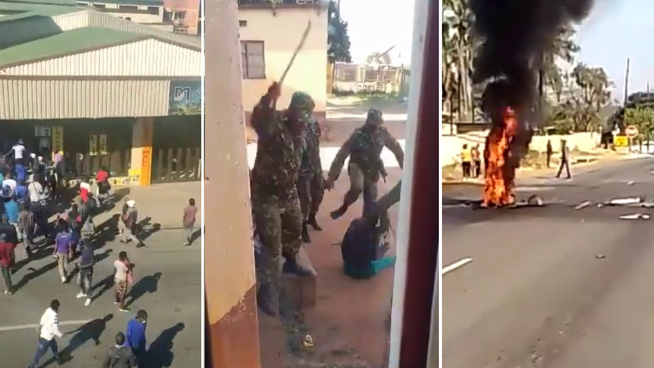 Left to right: Looting at a supermarket in Eswatini's largest city Manzini on June 29; soldiers beating residents of a home in Matsapha on June 30; tyres on fire blocking a highway outside Manzini on June 30.