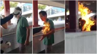 Captures d'écran de deux vidéos montrant un homme mis à feu par un individu à Hong Kong ce lundi 11 novembre.