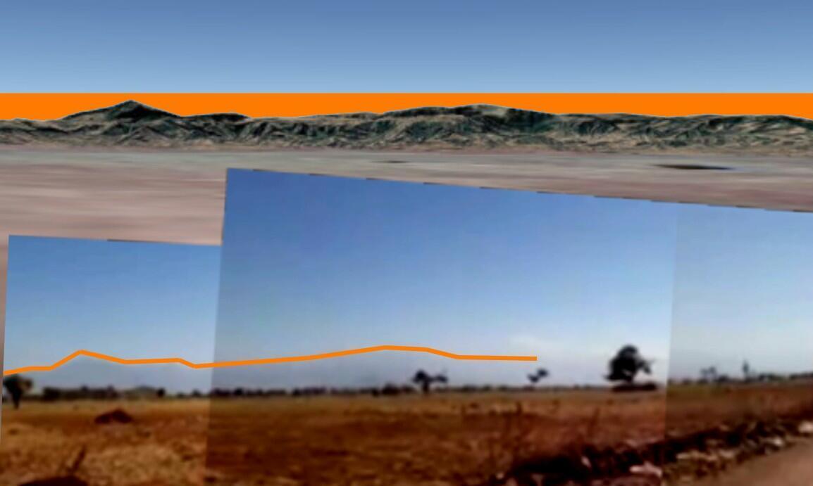 En bas, le profil montagneux visible dans la vidéo dans la direction sud-ouest (accentué par effet de contraste par notre rédaction) et, en haut, celui généré par les données topographiques dans Google Earth Pro.