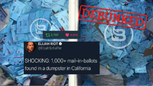 Images from a viral tweet posted by Elijah Schaffer on September 25, 2020 who claimed that they were mail-in ballots thrown in a dumpster in California.