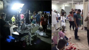 Left: Injured people being treated in the parking garage of an overcrowded hospital following a massive explosion  Aug. 4 in Beirut. Right: chaos in the halls of St. Joseph Hospital, where the wounded were treated on the ground and in hallways.