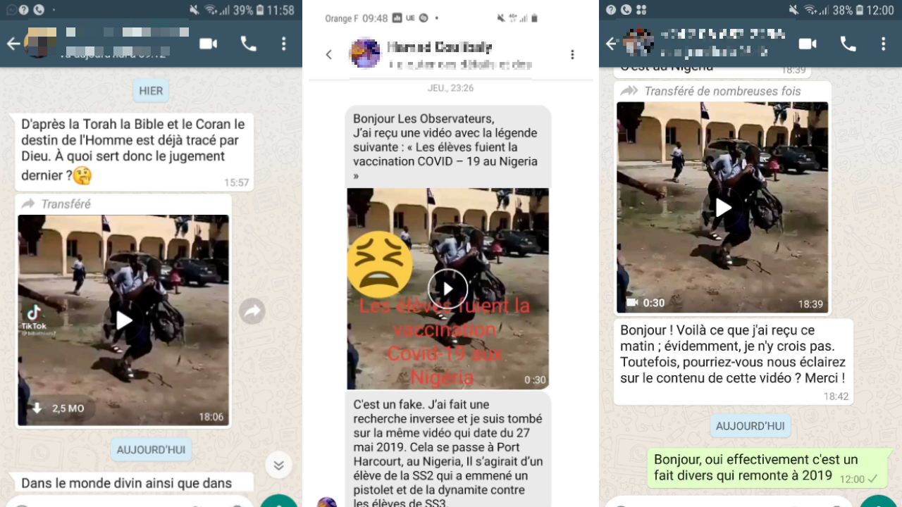 Plusieurs internautes ont remonté la vidéo aux Observateurs de France 24 à travers Whatsapp et Messenger
